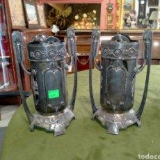 Antigüedades: PAREJA DE CENTROS DE MESA EN ESTAÑO REF-74. Lote 269401378