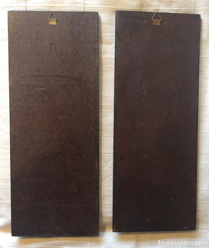 Antigüedades: Antiguos paneles Chinos de Papel Maché,con incrustaciones de Nácar ,Medida 48,5X19cm - Foto 6 - 269439833