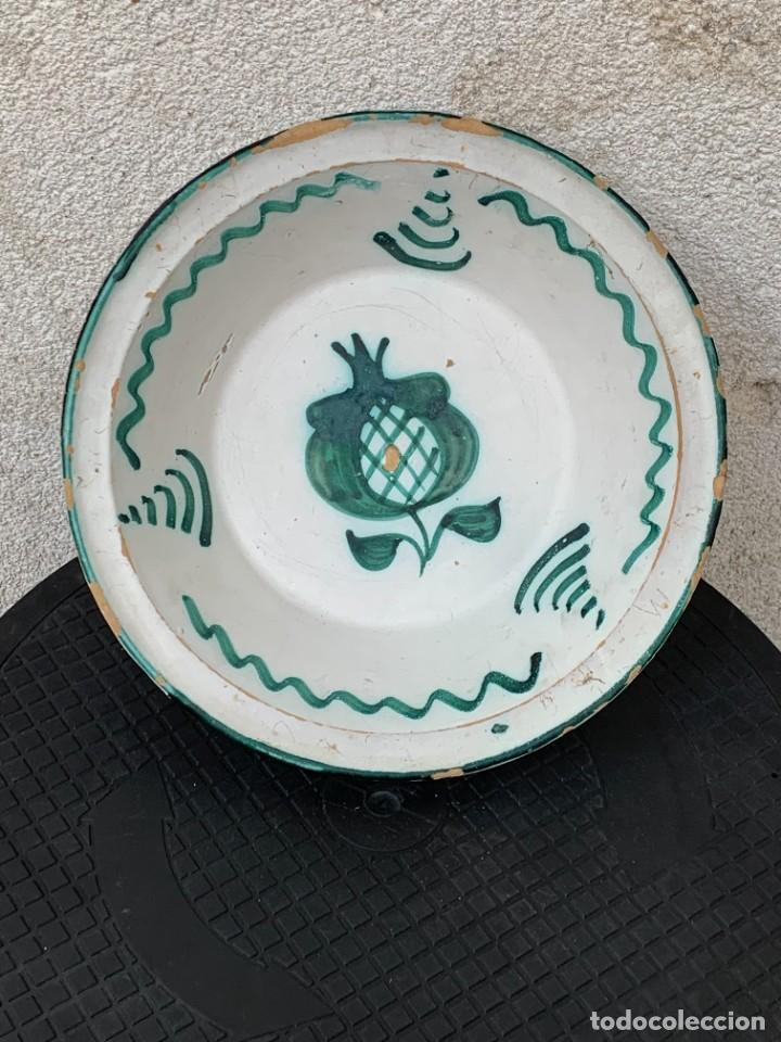CUENCO CENTRO MESA CERAMICA FAJALAUZA GRANADA VERDE ROCES DESGASTE USO 8X27CMS (Antigüedades - Porcelanas y Cerámicas - Fajalauza)