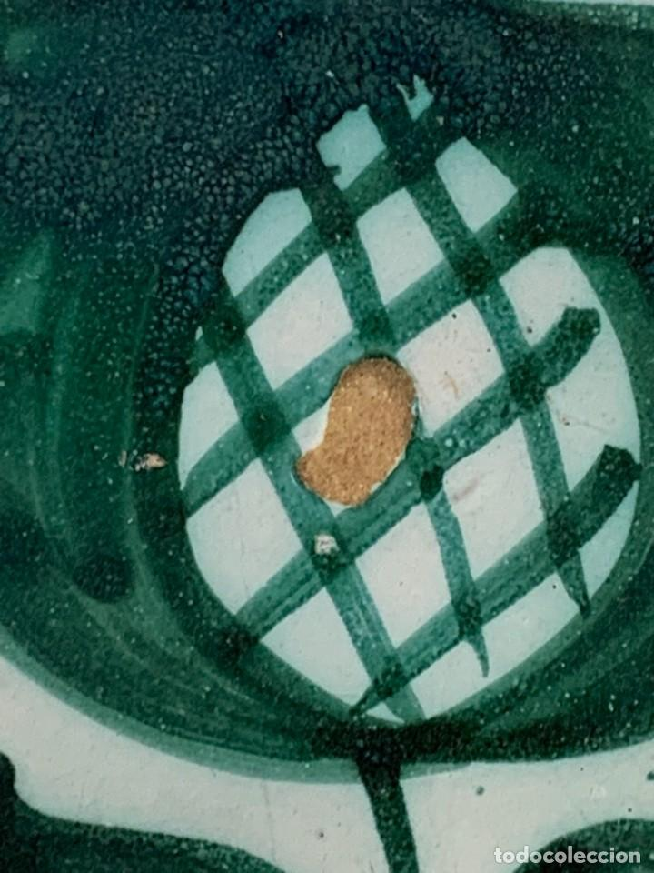 Antigüedades: CUENCO CENTRO MESA CERAMICA FAJALAUZA GRANADA VERDE ROCES DESGASTE USO 8X27CMS - Foto 5 - 269467068