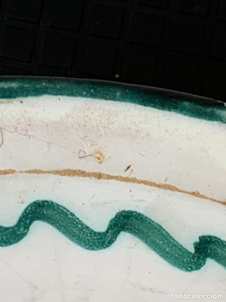 Antigüedades: CUENCO CENTRO MESA CERAMICA FAJALAUZA GRANADA VERDE ROCES DESGASTE USO 8X27CMS - Foto 7 - 269467068