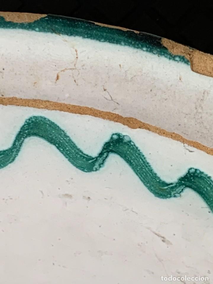 Antigüedades: CUENCO CENTRO MESA CERAMICA FAJALAUZA GRANADA VERDE ROCES DESGASTE USO 8X27CMS - Foto 9 - 269467068