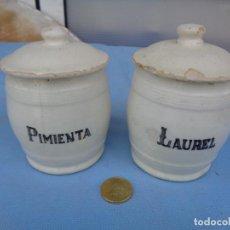 Antigüedades: TARROS DE COCINA DE MANISES LAUREL Y PIMIENTA. Lote 269504128