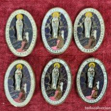 Antigüedades: CONJUNTO DE 6 MEDALLAS RELIGIOSAS. COFRADIA VIRGEN DE LOURDES DE TERRASSA. SIGLO XX.. Lote 269585178