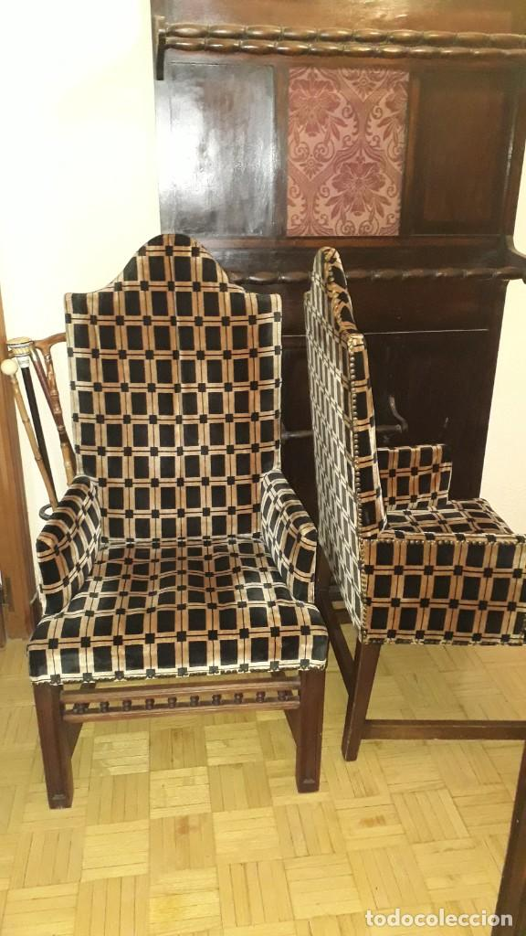 Antigüedades: 2 Dos sillones antiguos estilo Luis XIII. Pareja de butacas antiguas estilo Luis XIV renacimiento. - Foto 2 - 269653578