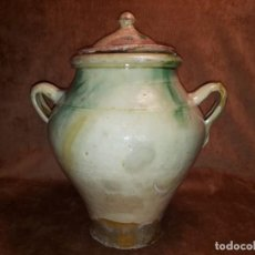 Antigüedades: BONITA Y ANTIGUA OLLA DE CERÁMICA VIDRIADA. BAILÉN O LUCENA.. Lote 269700473