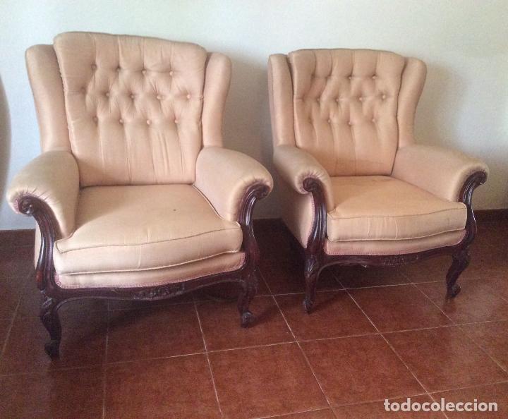 Antigüedades: Conjunto de Sofá antiguo y sillas capitoné estilo Luis XV(recogida en domicilio) - Foto 2 - 269739438