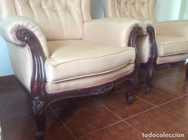 Antigüedades: Conjunto de Sofá antiguo y sillas capitoné estilo Luis XV(recogida en domicilio) - Foto 3 - 269739438