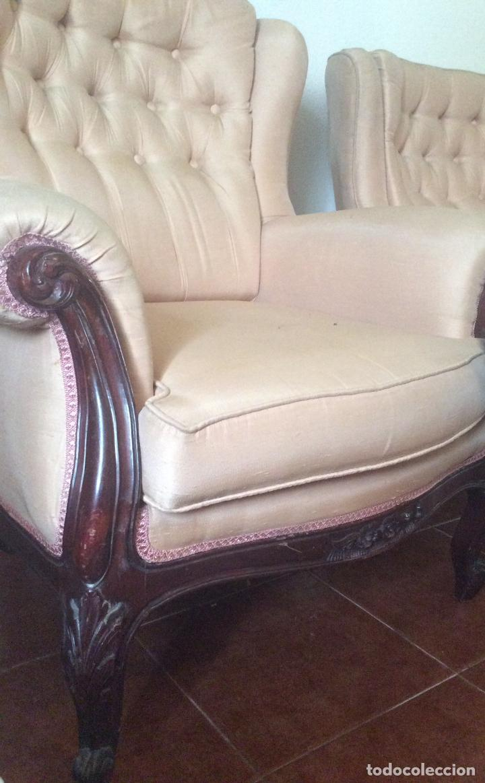 Antigüedades: Conjunto de Sofá antiguo y sillas capitoné estilo Luis XV(recogida en domicilio) - Foto 4 - 269739438