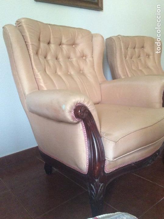 Antigüedades: Conjunto de Sofá antiguo y sillas capitoné estilo Luis XV(recogida en domicilio) - Foto 5 - 269739438