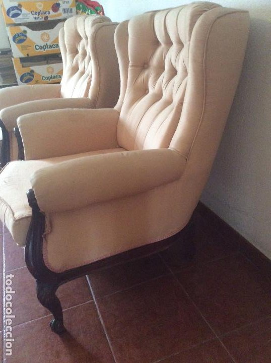 Antigüedades: Conjunto de Sofá antiguo y sillas capitoné estilo Luis XV(recogida en domicilio) - Foto 6 - 269739438