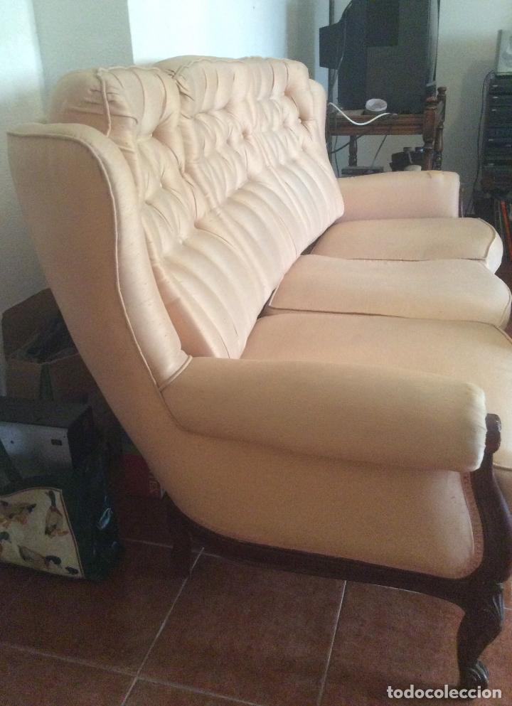 Antigüedades: Conjunto de Sofá antiguo y sillas capitoné estilo Luis XV(recogida en domicilio) - Foto 8 - 269739438