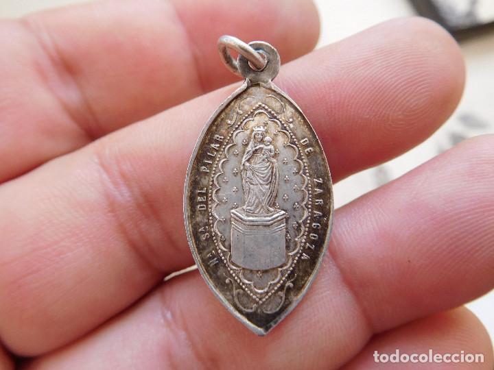 MEDALLA DE PLATA N.S. DEL PILAR ZARAGOZA (Antigüedades - Religiosas - Medallas Antiguas)