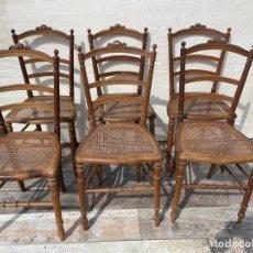 Antigüedades: LOTE DE 6 SILLAS FRANCESAS DE REJILLA DE MADERA DE ROBLE CON UN LAZO TALLADO. Lote 269934203