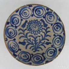 Antigüedades: FUENTE EN CERÁMICA AZUL DE FAJALAUZA DEL SIGLO XIX. Lote 269968553