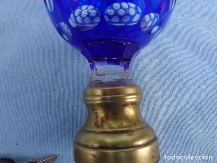 Antigüedades: ANTIGUA BOLA POMO DE ESCALERA DE CRISTAL BACCARAT BICOLOR TALLADO. ORIGINAL- - Foto 3 - 269999343
