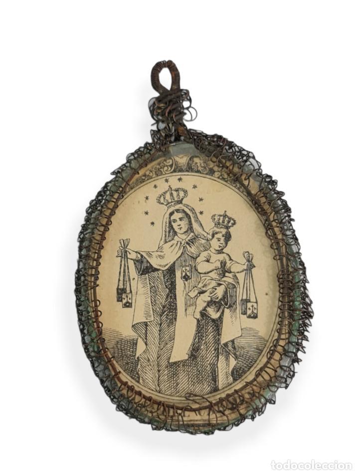 Antigüedades: Relicario San José Virgen del Carmen. Grabados, cristal. SXVIII-XIX total 8x4cm - Foto 2 - 270109288