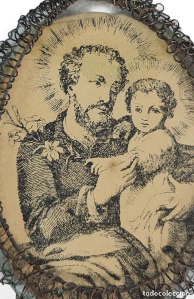Antigüedades: Relicario San José Virgen del Carmen. Grabados, cristal. SXVIII-XIX total 8x4cm - Foto 4 - 270109288