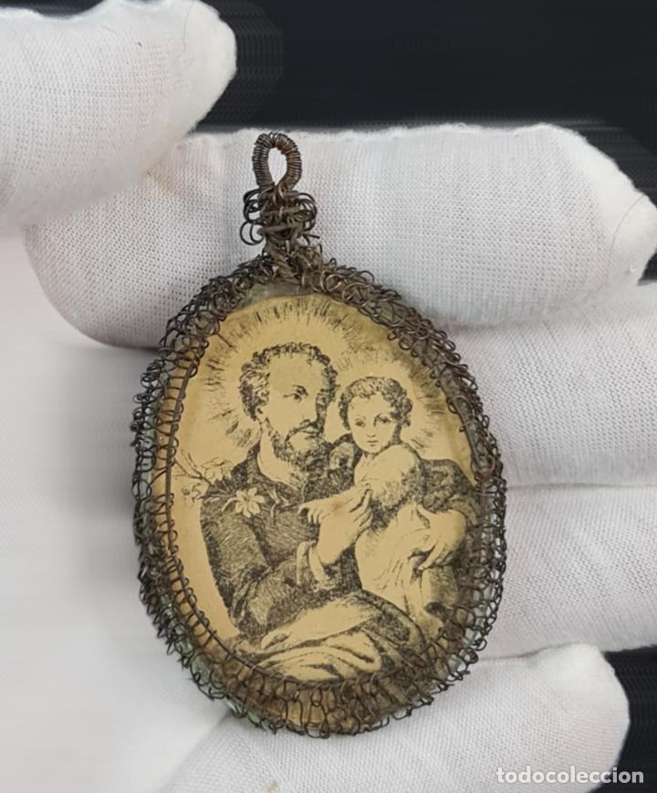 Antigüedades: Relicario San José Virgen del Carmen. Grabados, cristal. SXVIII-XIX total 8x4cm - Foto 5 - 270109288