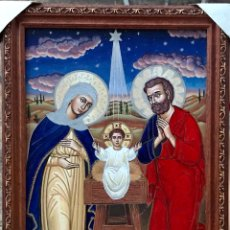 Antigüedades: CUADRO RELIGIOSO NACIMIENTO NIÑO JESUS VIRGEN MARIA SAN JOSE - DECORACION IGLESIA RELIGION DIOS. Lote 270139893