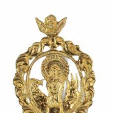 Antigüedades: GRAN MEDALLA VIRGEN DEL PILAR EN PLATA DORADA. 16GR 6X4CM. Lote 270127603