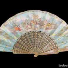 Antigüedades: ABANICO ASTA, PIQUÉ ORO Y LITOGRAFÍAS COLOREADAS. HAND FAN. HORN, GOLD INLAY, LITHOS. CA 1850. Lote 270163538