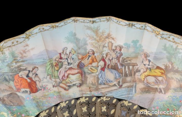 Antigüedades: Abanico asta, piqué oro y litografías coloreadas. Hand fan. Horn, gold inlay, lithos. ca 1850 27cm - Foto 3 - 270163538