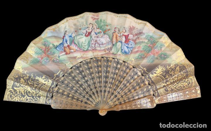 Antigüedades: Abanico asta, piqué oro y litografías coloreadas. Hand fan. Horn, gold inlay, lithos. ca 1850 27cm - Foto 5 - 270163538