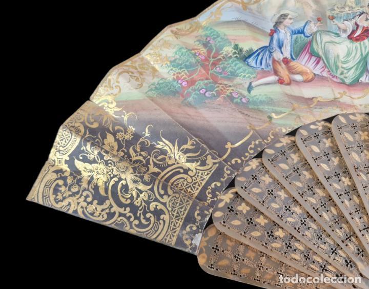 Antigüedades: Abanico asta, piqué oro y litografías coloreadas. Hand fan. Horn, gold inlay, lithos. ca 1850 27cm - Foto 6 - 270163538