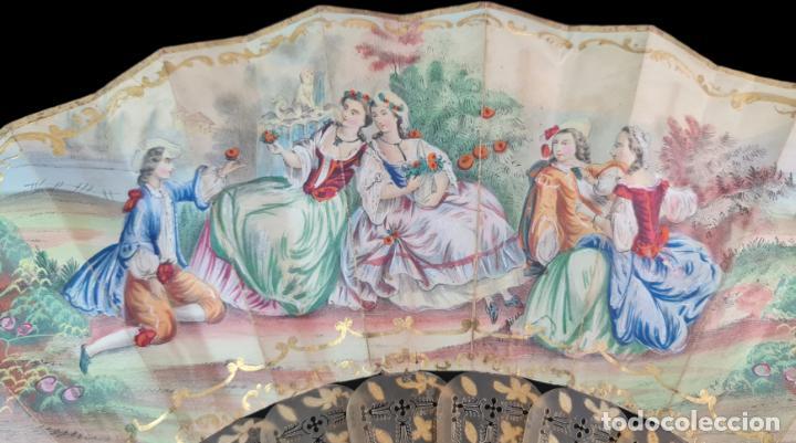 Antigüedades: Abanico asta, piqué oro y litografías coloreadas. Hand fan. Horn, gold inlay, lithos. ca 1850 27cm - Foto 7 - 270163538