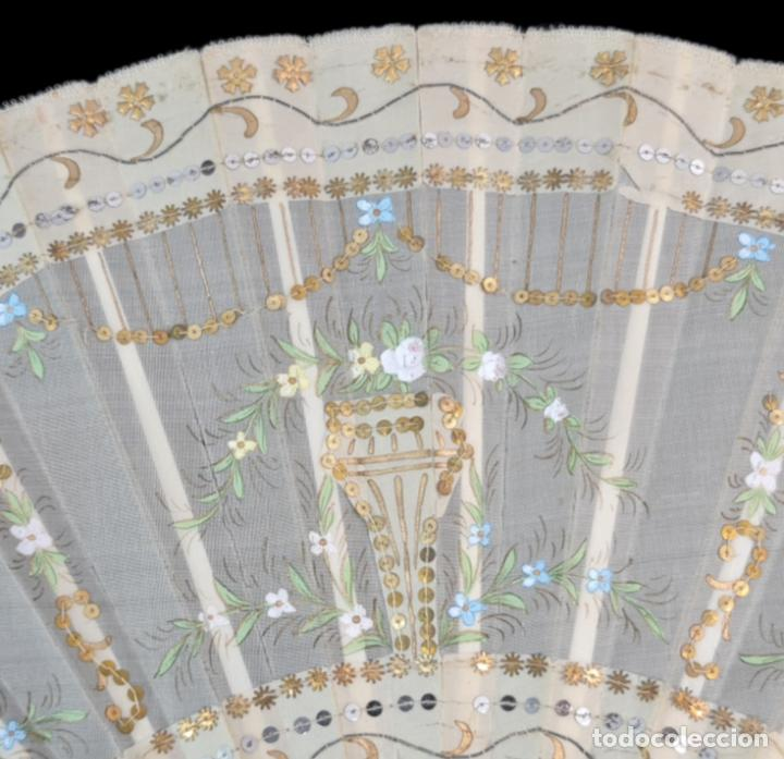 Antigüedades: Abanico asta, piqué, paístextil. Hand fan. Horn, gold inlay, tissu. ca 1850 24cm - Foto 3 - 270164983
