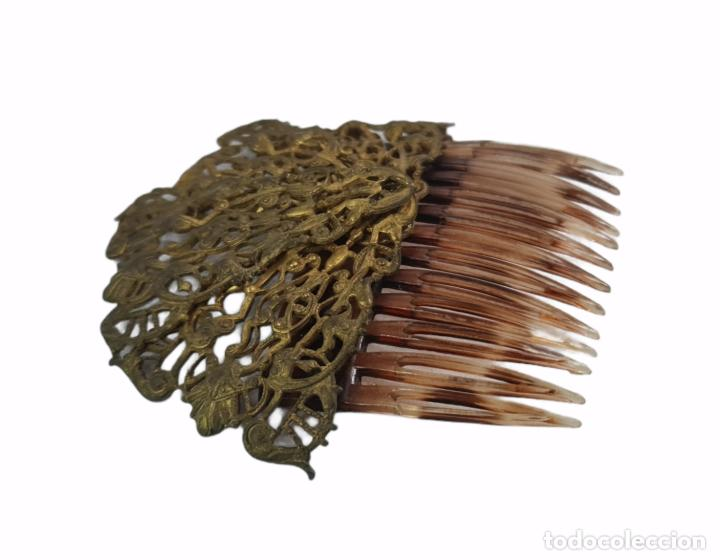 Antigüedades: Horquilla de peinado Míriam Haskell. Celuloide y filigrana metal. Mediados SXX 9x8cm - Foto 2 - 270168548