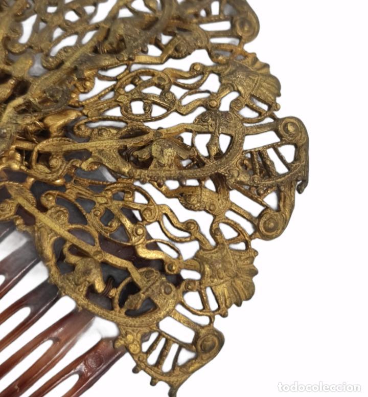Antigüedades: Horquilla de peinado Míriam Haskell. Celuloide y filigrana metal. Mediados SXX 9x8cm - Foto 3 - 270168548