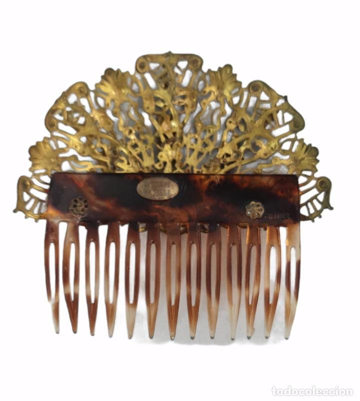 Antigüedades: Horquilla de peinado Míriam Haskell. Celuloide y filigrana metal. Mediados SXX 9x8cm - Foto 4 - 270168548