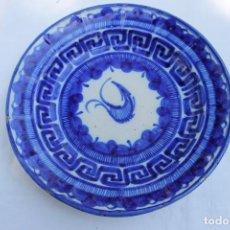 Antigüedades: FUENTE DE MANISES EN AZUL FIRMADA VMD. Lote 270226438