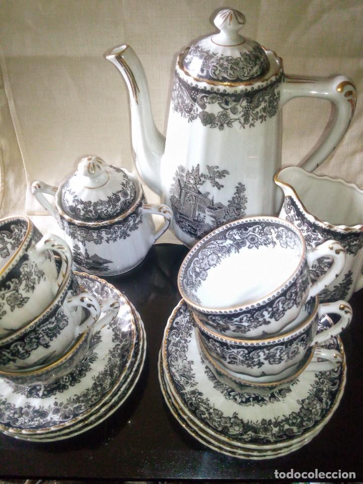 Antigüedades: ~~~~ JUEGO DE CAFÉ DE FINISIMA PORCELANA DE SANTA CLARA OLD ENGLAND CON FILOS ORO, PARA SEIS ~~~~ - Foto 4 - 270257178