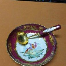 Antigüedades: CUENCO PORCELANA FRANCESA CON CUCHARON. Lote 270326693