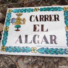 Antigüedades: ANTIGUO AZULEJO CERÁMICA DE CALLE CARRER EL ALGAR , PERFECTO ESTADO J. GIMENO MANISES VALENCIA. Lote 270351948
