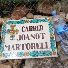 Antigüedades: ANTIGUO AZULEJO CERÁMICA DE CALLE CARRER JOANOT MARTORELL J. GIMENO MANISES VALENCIA. Lote 270352368