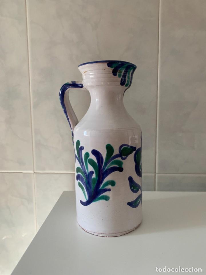 Antigüedades: Jarra Aceitera en cerámica azul Fajalauza Granada granadina - Foto 5 - 270368568