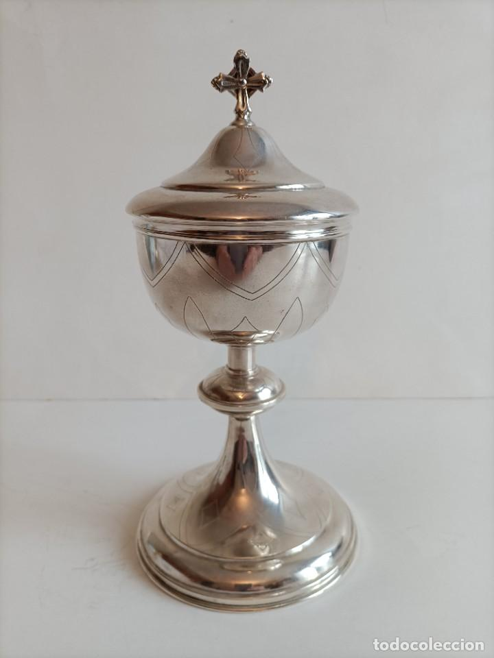 COPON EN METAL PLATEADO , PRIMERA MITAD DEL SIGLO XX , FECHADO EN EL 39 ALT. 25 CMS. (Antigüedades - Religiosas - Orfebrería Antigua)