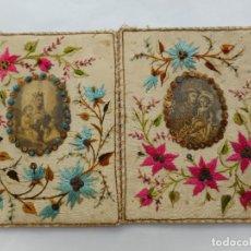 Antigüedades: MUY ANTIGUO DOBLE ESCAPULARIO RELIGIOSO.BORDADO.. Lote 270401803
