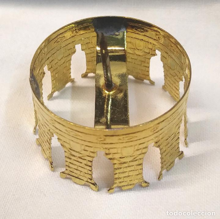 Antigüedades: Corona para Imagen Virgen o Santo coronado bronce. Med. 3 cm diametro - Foto 2 - 270400833