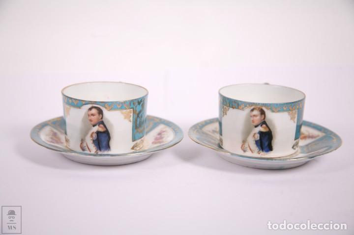 Antigüedades: Juego de Cafe Porcelana China Tu y Yo - Emperador Napoleon - Prov Sxe Alemania Principios Siglo XX - Foto 4 - 270887573