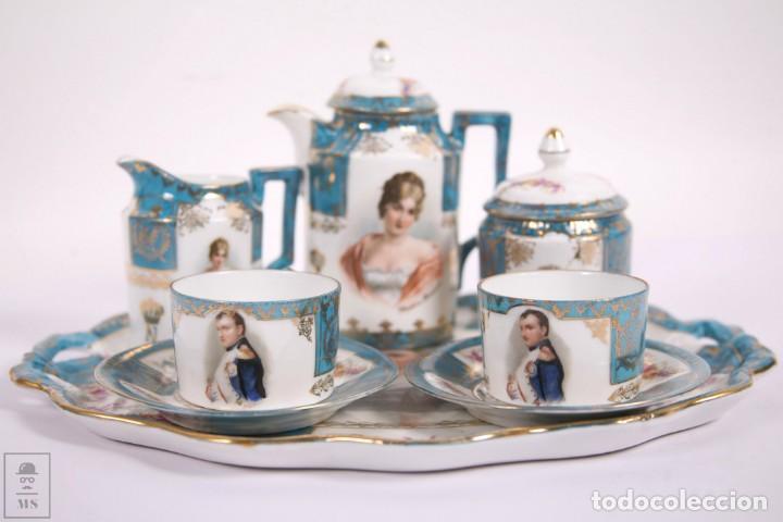 Antigüedades: Juego de Cafe Porcelana China Tu y Yo - Emperador Napoleon - Prov Sxe Alemania Principios Siglo XX - Foto 14 - 270887573