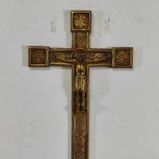 Antigüedades: CRUCIFIJO, CRISTO A LA CRUZ - MAJESTAD - BRONCE CINCELADO - PRINCIPIOS S. XX. Lote 270911268