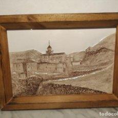 Antigüedades: AZULEJO / BALDOSA EN RELIEVE ALBARRACÍN PUEBLO IGLESIA (TERUEL) 36 X 26 CM - ENMARCADO (J. RABANETE). Lote 270945623