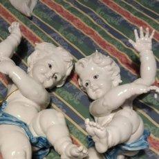 Antigüedades: PAREJA DE ANGELITOS ALGORA GRANDES. Lote 270964618