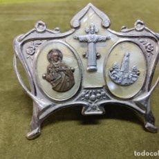 Antigüedades: ANTIGUA PLACA MODERNISTA CON IMAGENES RELIGIOSAS, FATIMA, SAGRADO CORAZON DE JESUS Y CRISTO REY. Lote 270983643