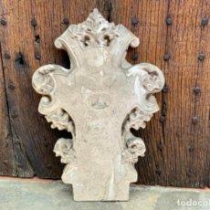 Antigüedades: PORTICO O DOSEL EN ESTUCO PARA TRONO DE SAGRADO CORAZON O DORSO IMAGEN RELIGIOSA. OLOT. Lote 271010993
